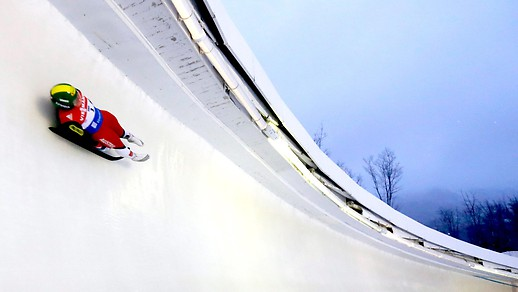 Luge in an ice rink