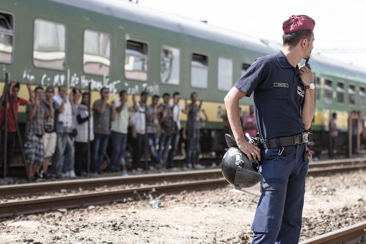 Flüchtlinge auf dem Bahnhof Bicske am 4. September 2015
