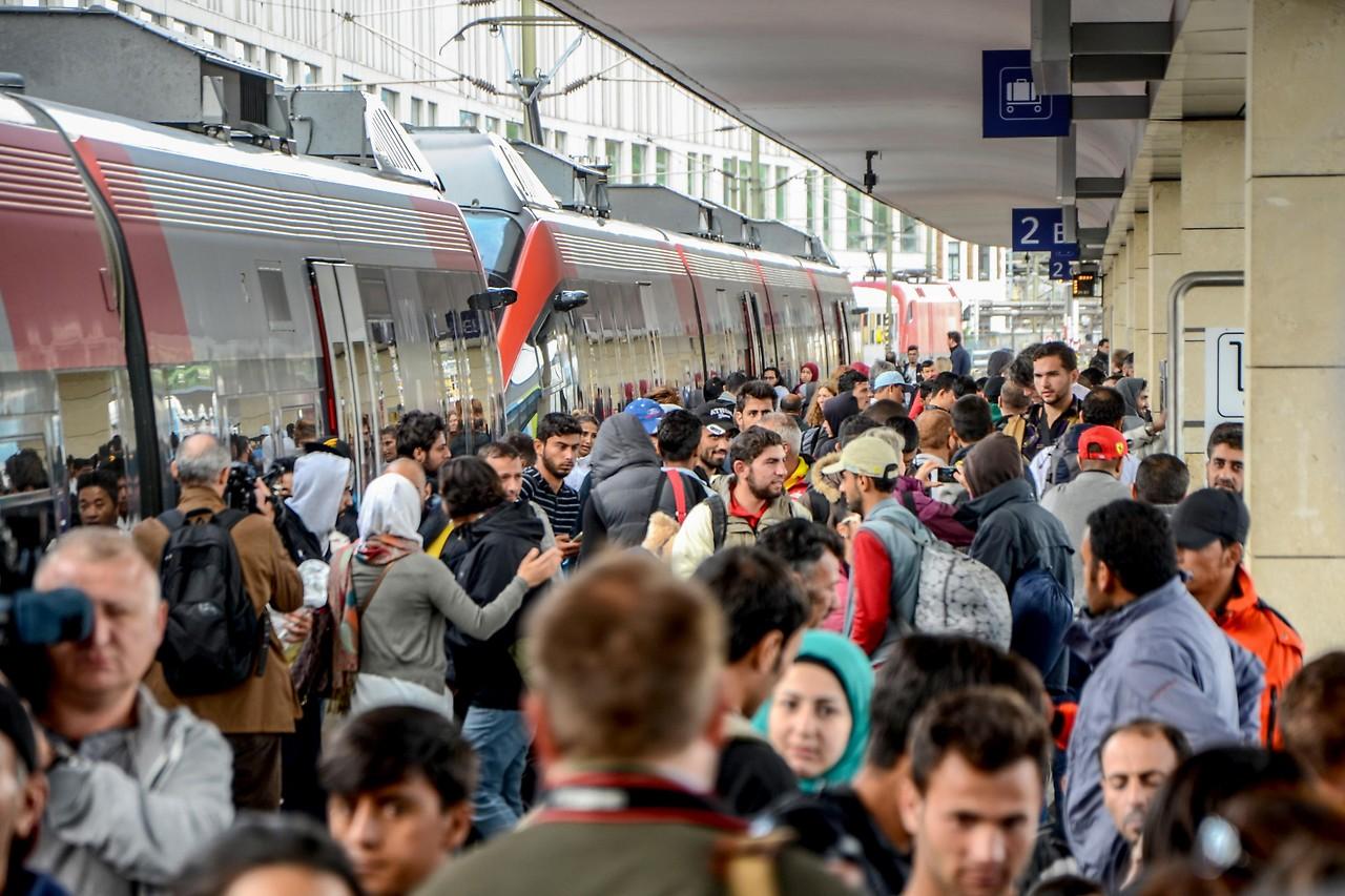 Flüchtlinge auf dem Wiener Westbahnhof am 6. September 2015