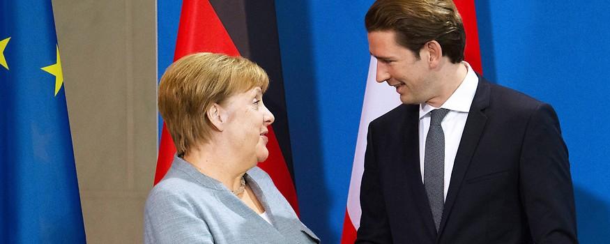 Bundeskanzlerin Angela Merkel und Bundeskanzler Sebastian Kurz