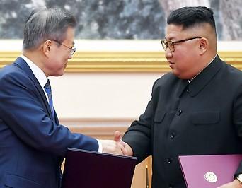 Südkoreanischer Präsident Moon und nordkoreanischer Machthaber Kom Jong-Un