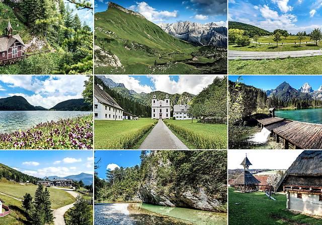 Freilichtmuseum Ensemble Gerersdorf (Burgenland), Gamskogelhütte (Kärnten), Höllental (Niederösterreich), Schiederweiher (Oberösterreich), Maria Kirchental (Salzburg), Schüsserlbrunn (Steiermark), Hintersteiner See und Walleralm (Tirol), Silbertal (Vorarlberg), Am Himmel (Wien)