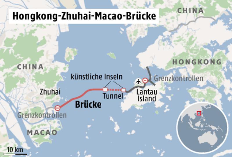 Karte China Hong Kong.Hongkong Zhuhai Macao Brücke Längste Seebrücke Der Welt Wird
