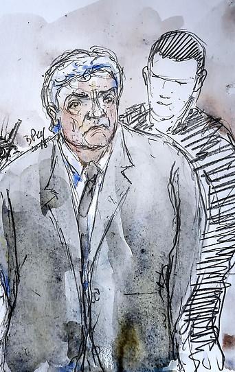 Gerichtszeichnung zeigt den Angeklagten und Schwiegersohn des Mordopfers Wojciech Janowski