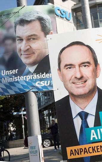 Aiwander (Freie Wähler) und Söder (CSU) auf Plakaten