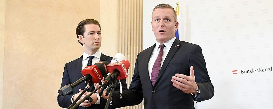 Bundeskanzler Sebastian Kurz und Verteidigungsminister Mario Kunasek