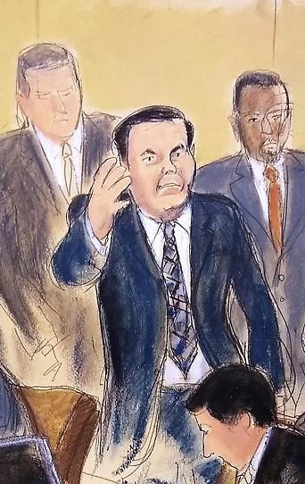 """Gerichtszeichnung des Prozesses um """"El Chapo"""""""