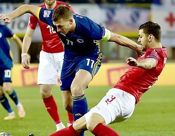 Edin Dzeko (BIH) und Aleksandar Dragovic (AUT)