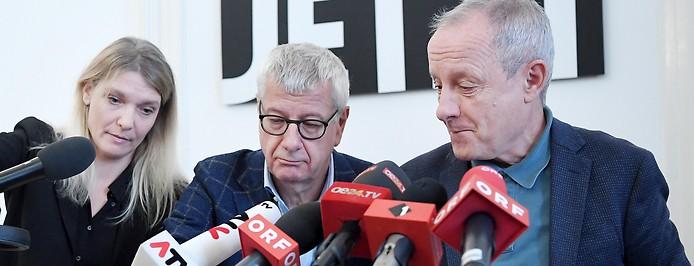 Maria Stern, Bruno Rossmann und Peter Pilz im Rahmen einer Presssekonferenz