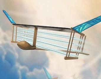 Grafik eines Flugzeugs mit Ionenantrieb