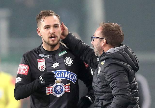 Lukas Spendlhofer (Sturm) und Coach Roman Mählich