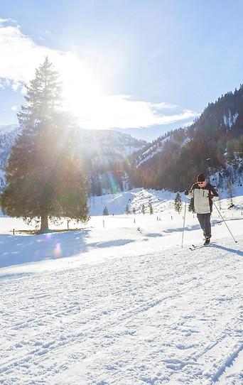Langläufer in einer winterlichen Landschaft