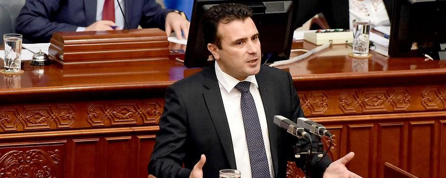 Mazedonischer Ministerpräsident Zoran Zaev im Parlament in Skopje