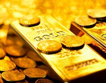 Goldbarren- und Münzen