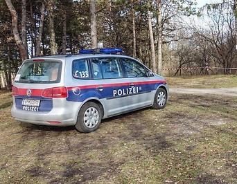 Ein Polizeiwagen parkt in Wiener Neustadt In einem Park, in dem die Leiche einer jungen Frau gefunden wurde