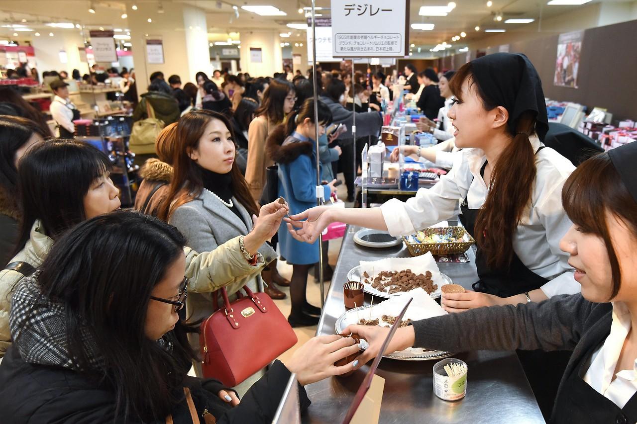Verkauf von Valentins-Schokolade in Tokyo