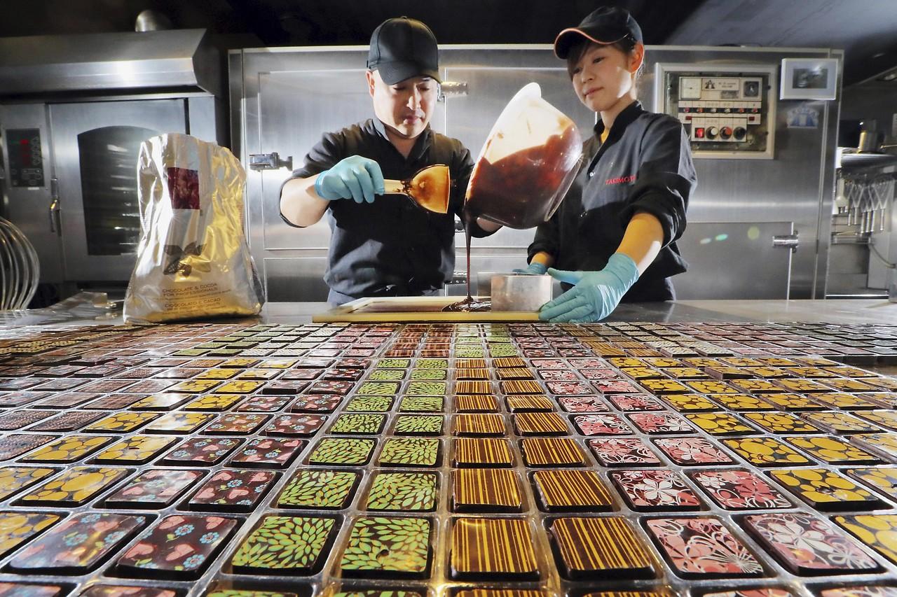 Herstellung von Valentins-Schokolade in Japan