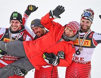 Michael Matt, Marcel Hirscher, Marco Schwarz und Peter Schröcksnadel