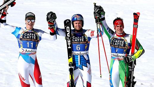 Marco Odermatt (SUI), Alexis Pinturault (FRA) und Zan Kranjec (SLO)