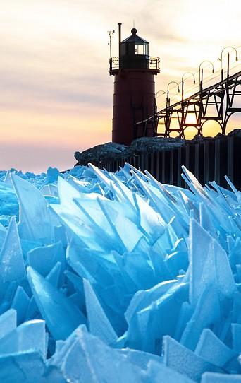 Eisplatten am Lake Michigan