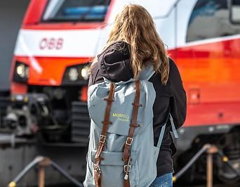 Reisende vor einem Zug