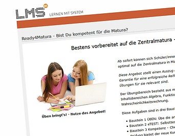Screenshot der Maturavorbereitungs-Site von lms.at