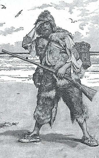 Illustration der Romanfigur Robinson Crusoe