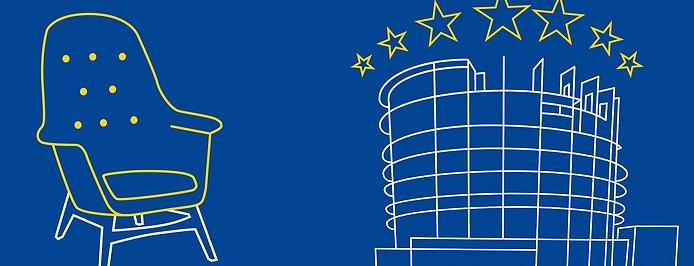 Grafische Darstellung des Gelben Sessels und des EU-Parlaments