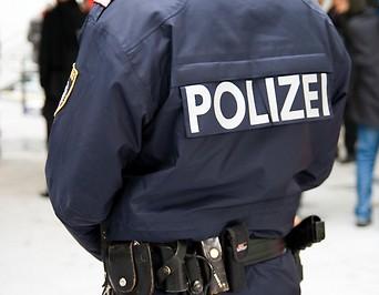 Polizist in Uniform steht mit Rücken zur Kamera
