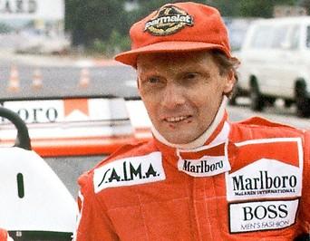 Niki Lauda in seinem Rennanzug am 14. November 1983