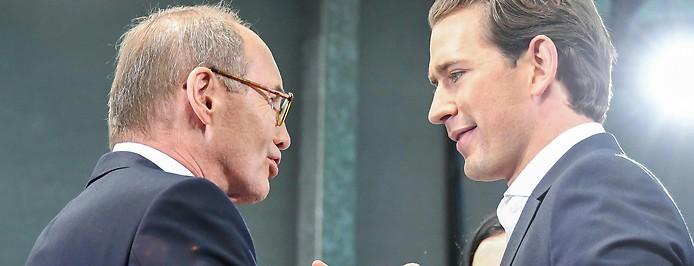 Spitzenkandidat Othmar Karas und Bundeskanzler Sebastian Kurz