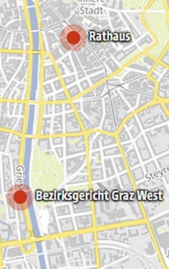 Karte der Anschläge in Graz