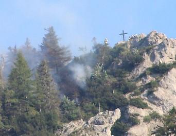 Waldbrand am Almkogel; St.Lorenz am Mondsee