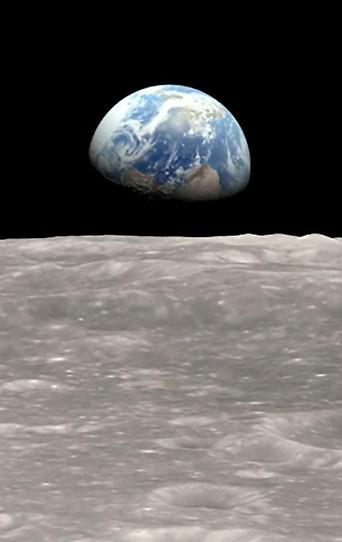 Die Erdkugel vom Mond aus betrachtet