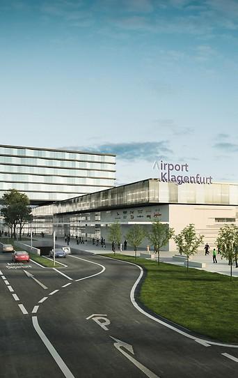 Ein Rendering zeigt die Aviation City und den neuen Airport Klagenfurt