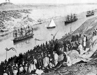 Zeichnung zeigt Suez Canal um 1869