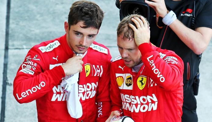 Die beiden Ferrari-Fahrer Charles Leclerc und Sebastian Vettel