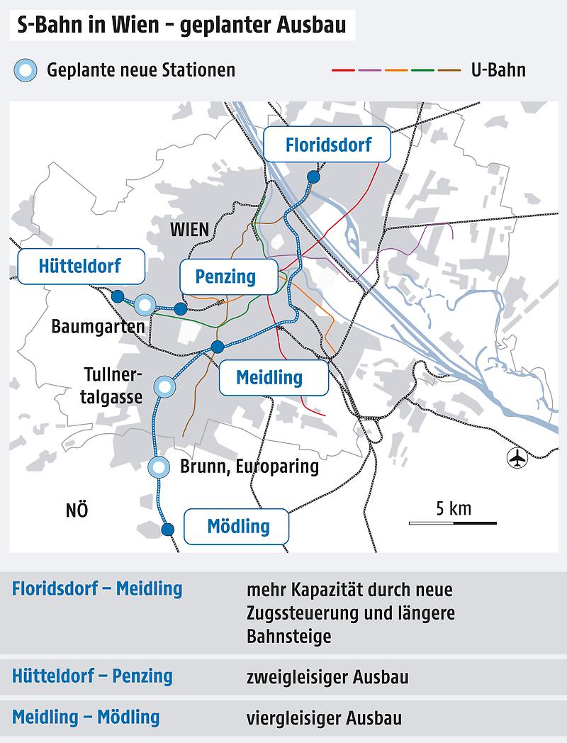 Grafik zeigt geplanten S-Bahn-Ausbau in Wien
