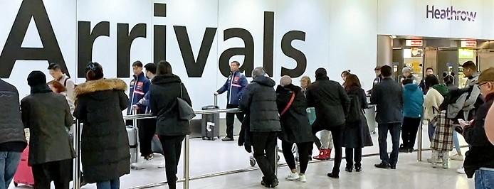 Ankunftsbereich des Londoner Großflughafens Heathrow