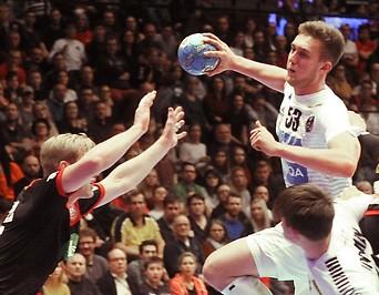 Szene aus dem Handball-Testspiel Österreich – Deutschland