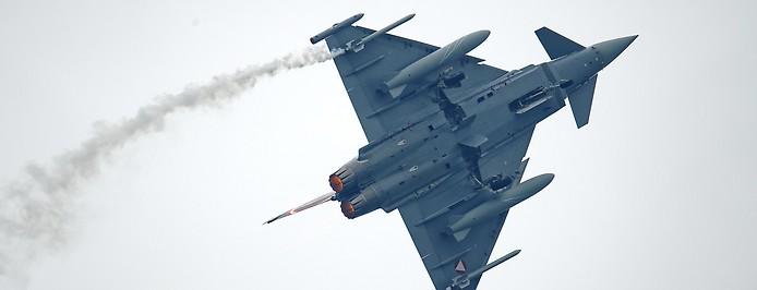 """Ein Eurofighter Typhoon der österreichischen Luftwaffe anlässlich der Flugshow """"Airpower 2019""""."""