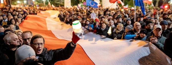 Demonstration gegen die Justizreform in Polen