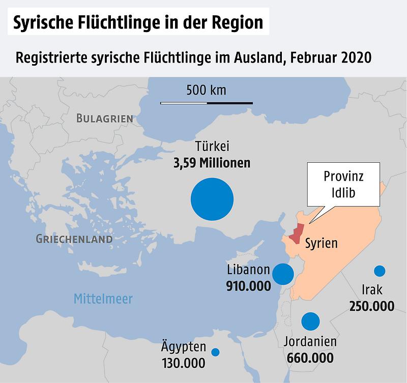 Karte Syrien und Nachbarländer, Zahl der Flüchtlinge
