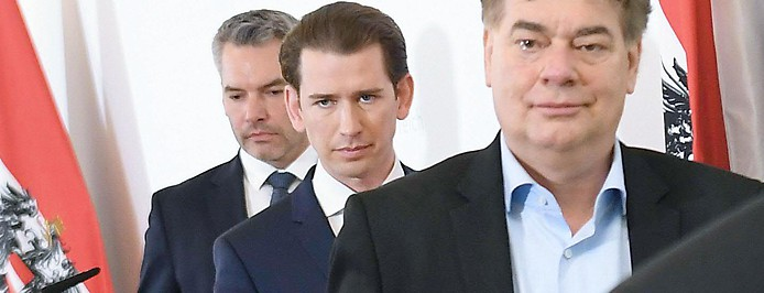 Karl Nehammer, Sebastian Kurz und Werner Kogler