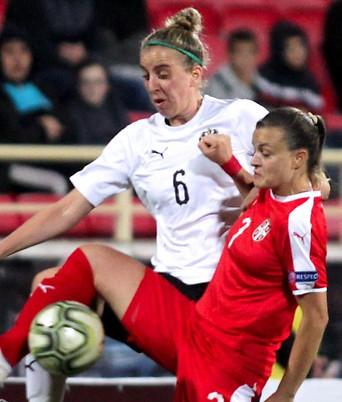 Szene aus dem Match Österreich gegen Serbien