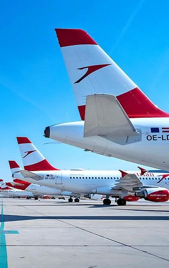 Heckflossen von geparkten AUA-Flugzeugen