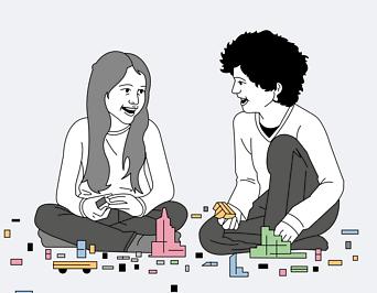 Illustration zweier spielender Kinder