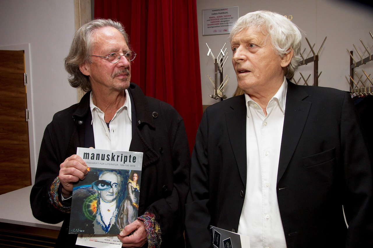 """Author Peter Handke and editor of the literary magazine """"manuskripte"""" Alfred Kolleritsch 2010"""