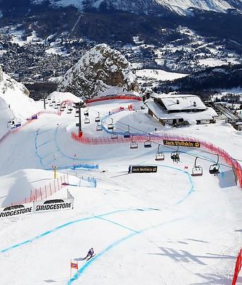 Die Skipiste in Cortina d'Ampezzo (Italien)