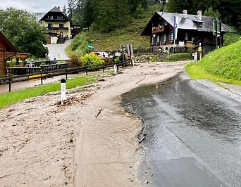 Überschwemmungen in der Steiermark bei Krieglach am Alpl